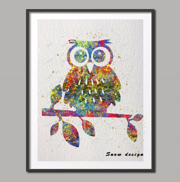 Original Watercolor Cute Owl Canvas Painting Wall Art Poster Print Pictures Home Decoration Hanging Christmas