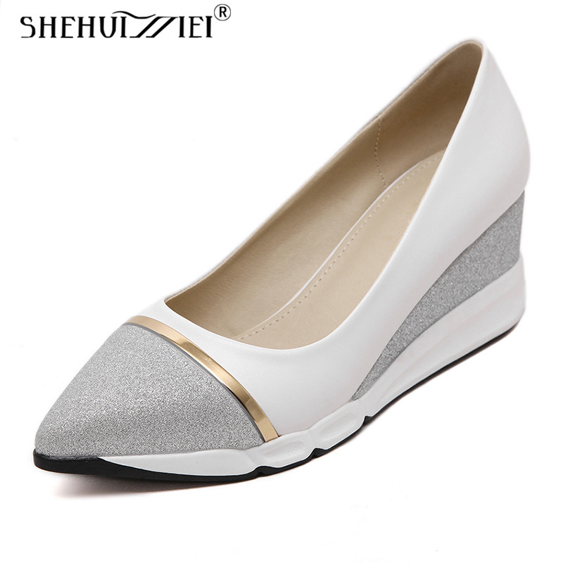 Shehuimei Shoes For Woman Silver Bling Loafer Platform 6 cm Heel Creepers Solid Slip On Casual Women Comfort Flats Shoes Size 8 free shipping women trendy fisherman shoe mesh casual flats slip on loafer donald duck out door shoes size 35 39