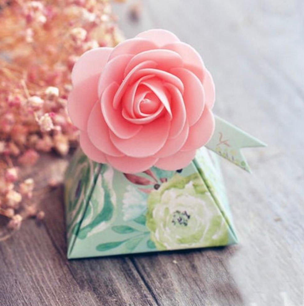 100 pcs Creative Gift Box Flower Style Triangular Pyramid Candy ...