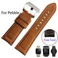 Для Pebble стали Время/Smart Watch Качество Натуральная Кожа Смотреть band 22 мм Мужская Черный Скраб Ремень Smart Watch аксессуары