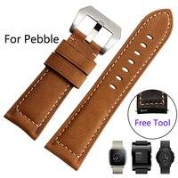 Dla pebble czas stali/smart watch jakości skórzana watch band 22mm mężczyzna czarny peeling pasek smart watch akcesoria