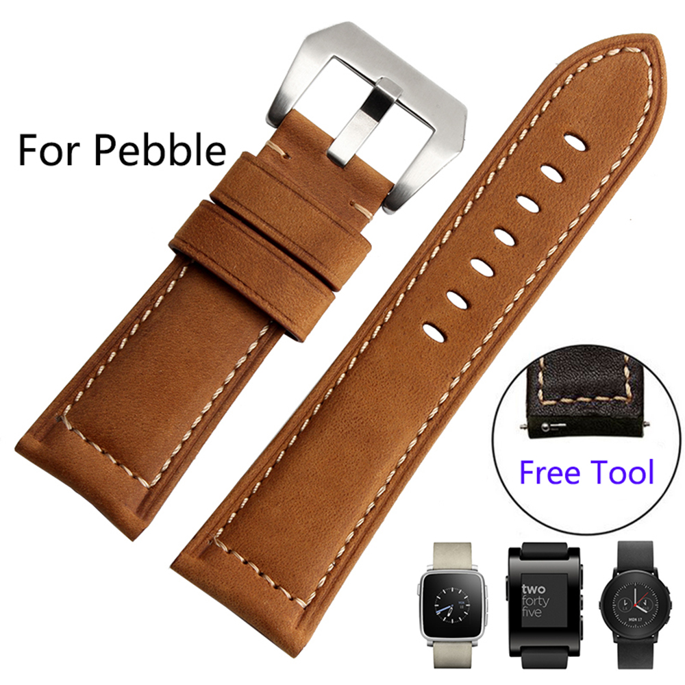 For Pebble Time steel/Smart Watch Quality Genuine Leather ...