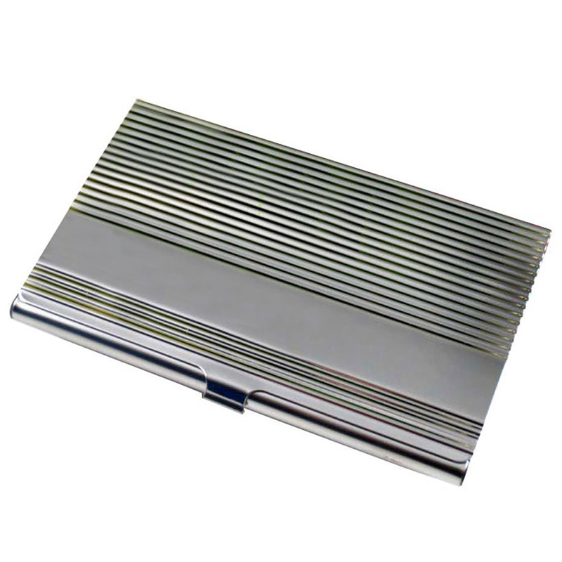 Wave Pattern Stainless Steel Business Name Card Holder Case,Silver