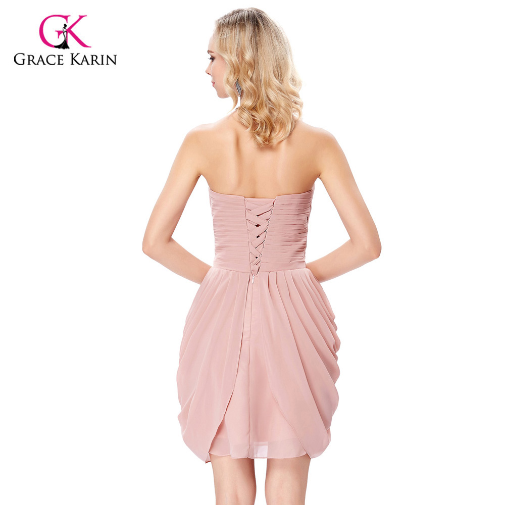 Grace Karin Beige Pink Champagne Chiffon Cocktail Dresses Short Gown ...