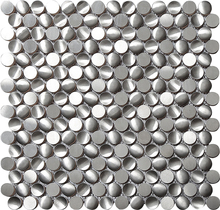 3D Metal Penny round Modern glossy white Silver Stainless Steel Mosaic Tiles Kitchen Backsplash Mosaic Wall