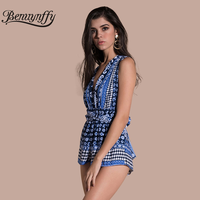 cfa85f77fc7 Benuynffy Deep V Neck Boho Print Playsuit Women Beach Wear Sexy Bow Tie  Rompers Womens Jumpsuit 2018 Backless Overalls L613-in Rompers from Women s  Clothing ...