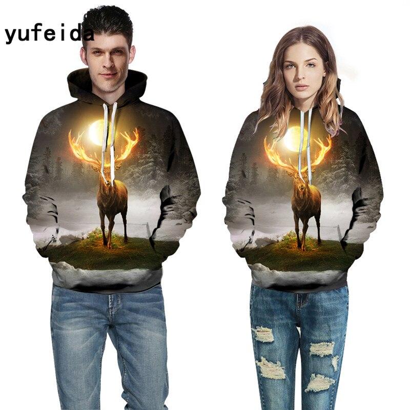 YUFEIDA Men Women Hoodies Animal 3D Print Sweatshirts Fashion Pullover Autumn Tracksuits Winter Outwear Casual Male