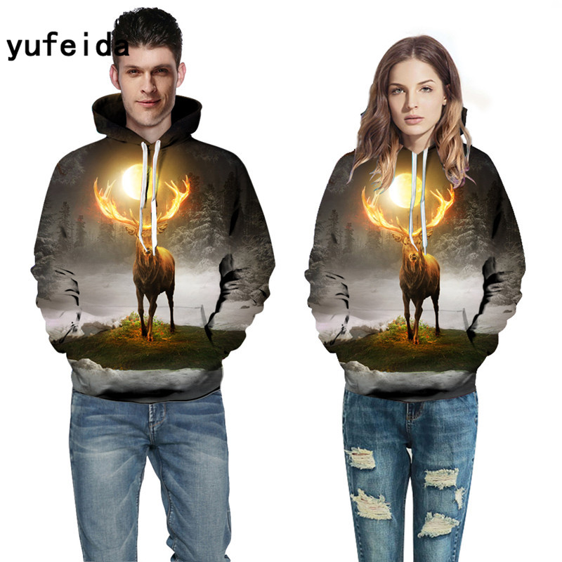 YUFEIDA Men Women Hoodies Animal 3D Print Sweatshirts Fashion Pullover Autumn Tracksuits Winter Outwear Casual Male Jacket Hoody