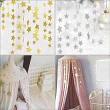 Москитная сетка, подвесное украшение, золотые, серебряные сверкающие звезды, декор для детской комнаты, декор для стен, детская кровать