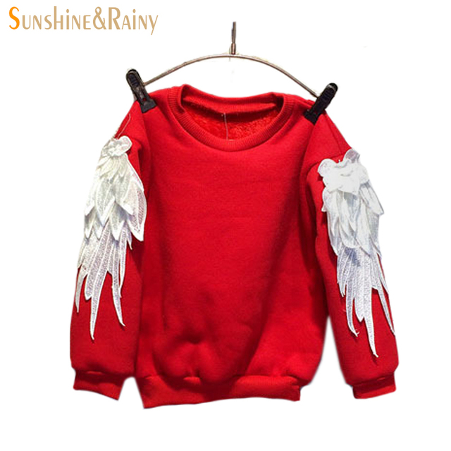 Free Shipping 2014 New Autumn Winter Fashion Thicken Warm Embroidery Wings Sleeve Sweatshirt Children Girls T Shirt Suit 2~7 Age
