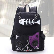 Peixe osso mochila para gato menina mochila estudantes bolsa de lona feminino rusksack BM01 BP dgxsfb