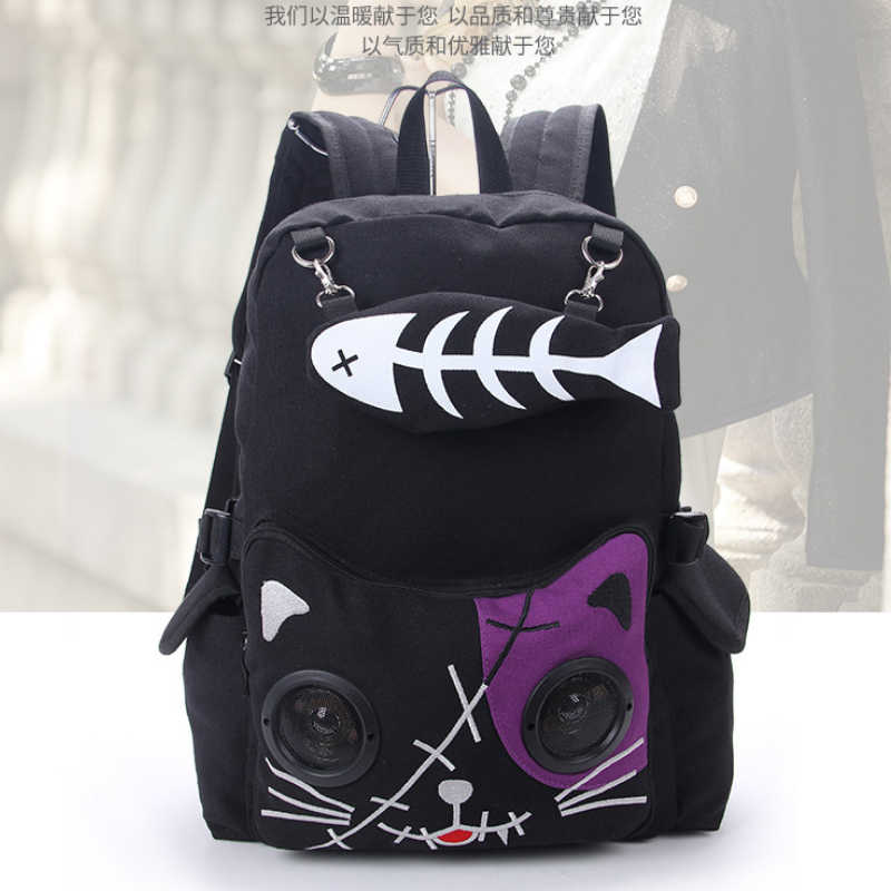 Peixe osso mochila para gato menina mochila estudantes bolsa de lona feminino rusksack BM01-BP-dgxsfb
