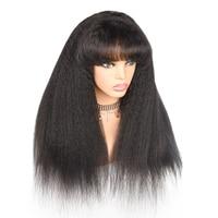 Странный прямо человеческих волос, парики с челкой 360 Кружева Фронтальная парик предварительно сорвал с для волос 180 плотность бразильский