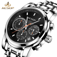 AESOP Watches Men Brand Quartz Wristwatch Black Male Clock Full Steel Multifunction Waterproof Chronograph Relogio Masculino