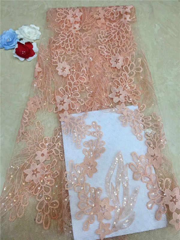 Paillettes Net dentelle tissu 2019 haute qualité africaine maille mariage robe de mariée couture paillettes brodé matériel bleu ciel rose