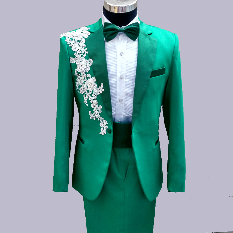 2016 New Arrival Green Pink Wedding Prom Men Suits Lace Appliques ...