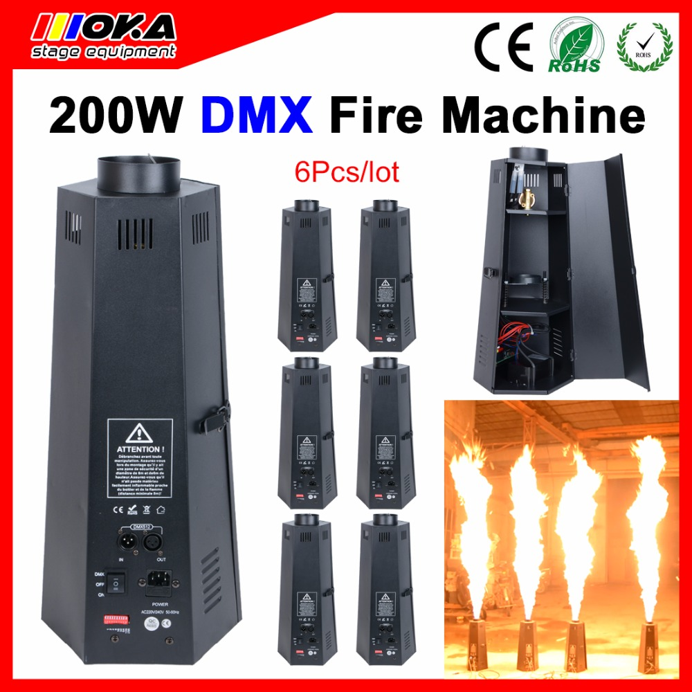 6 Pcs/lot 6 angle stage dmx flame projector spray Fire Machine dmx512 for Wedding,Party,Stage Effects,Disco Party Effects dmx lpg fire machines controller for flame machine dmx outdoor events for party ktv stage performance special effects