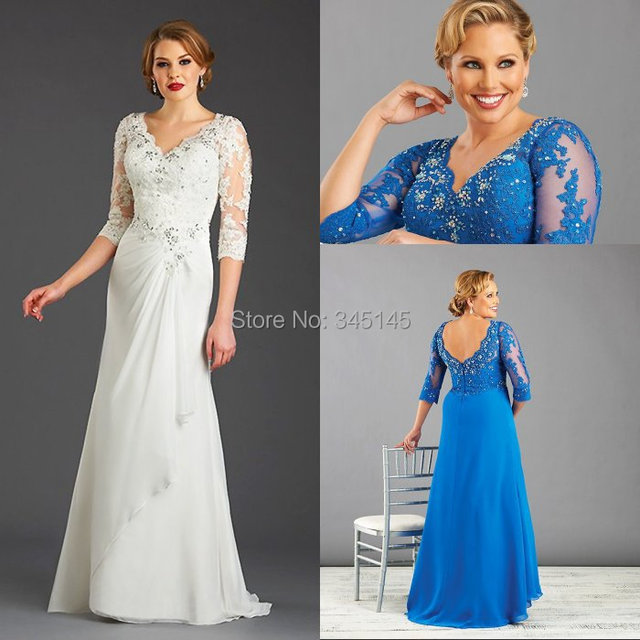 Blue Plus Size Mother Of The Bride Dress With Sleeve Chiffon Women ...