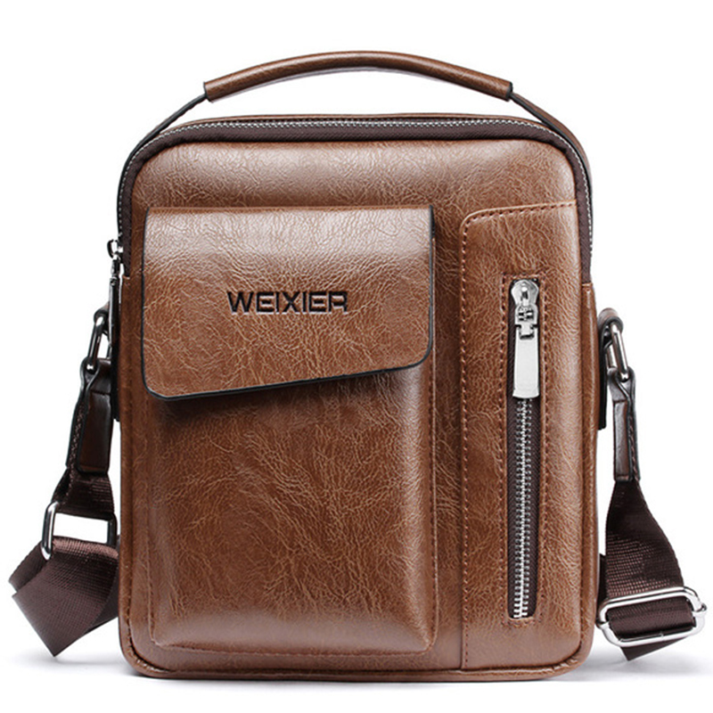Vintage Messenger Bag Men Shoulder Bags Pu Leather Crossbody Bags For Men Bags Retro Zipper Man Handbags WBS510
