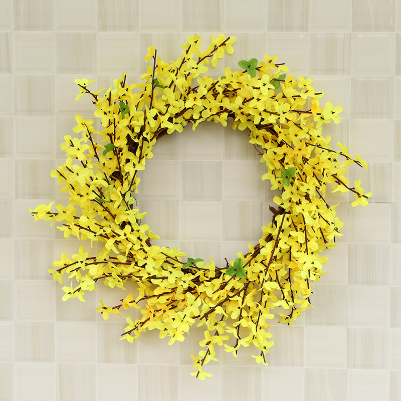 HOYVJOY Spring Yellow Flower Wreath Decoration Home Office Decor The Mall Decoration 45cm Free Shipping in Wreaths Garlands from Home Garden
