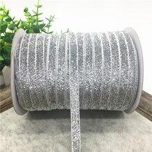 5 ярдов 3/8 дюйма блестящие бархатные ленты для свадебного украшения лента ручной работы подарочная упаковка бантик для волос DIY Рождественская лента# серебристый
