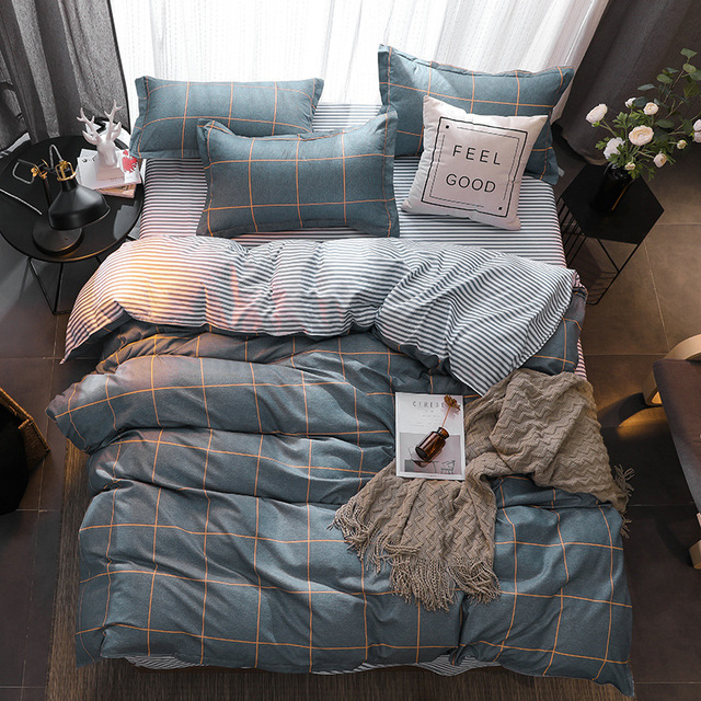 3/4pcs modern bedding set Super king size bed linens reactive printing duvet cover set pastoral style home bed set flat sheet