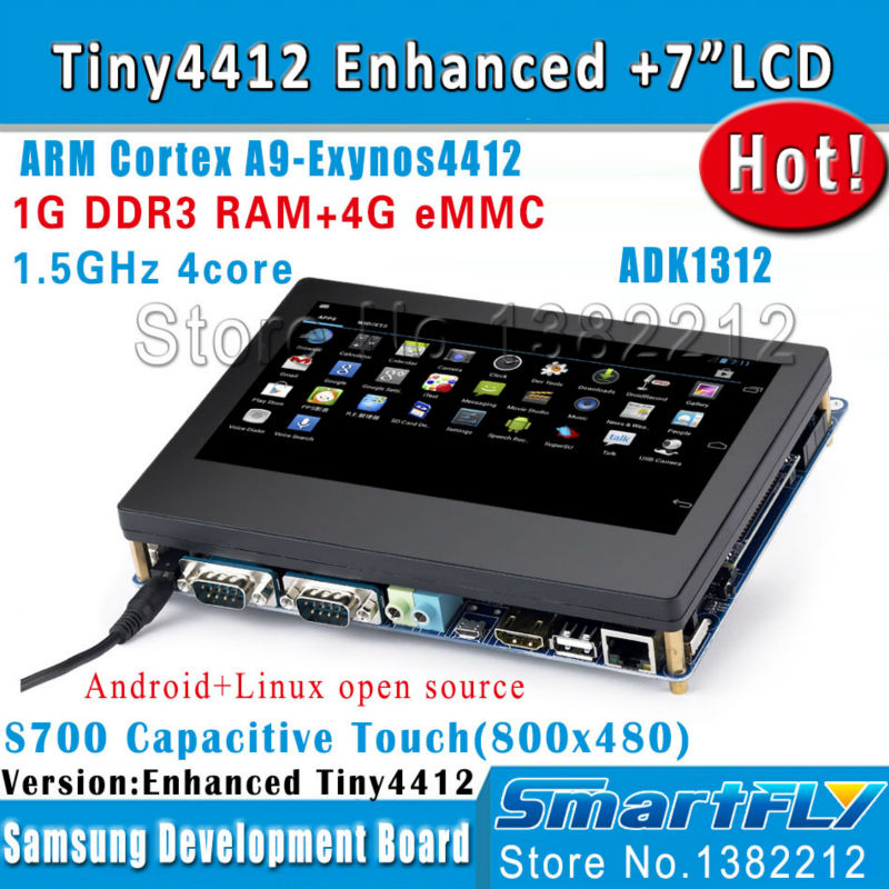 TINY4412 Enhanced ADK1312 + S700 7 Capacitive screen 1G RAM 4G eMMC Android 4.2/Ubuntu linux/FriendlyARM Cortex A9 Quad core/