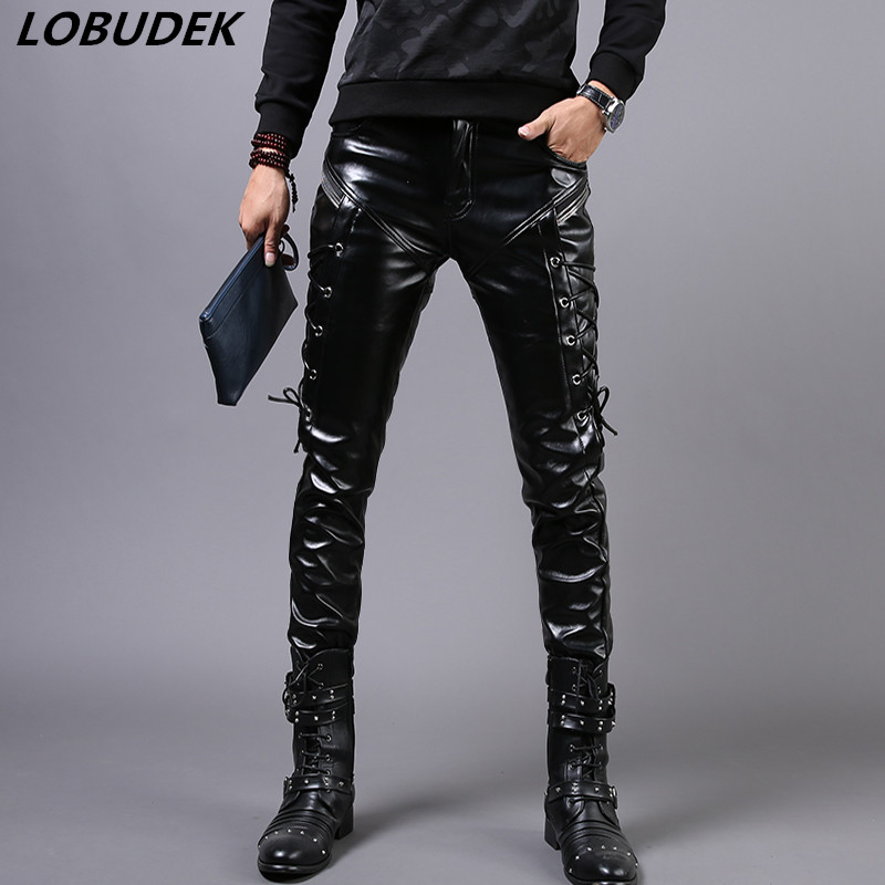 Male PU leather pants men winter black with velvet leather trousers prom rock costumes fashion tide slim pants show stage singer
