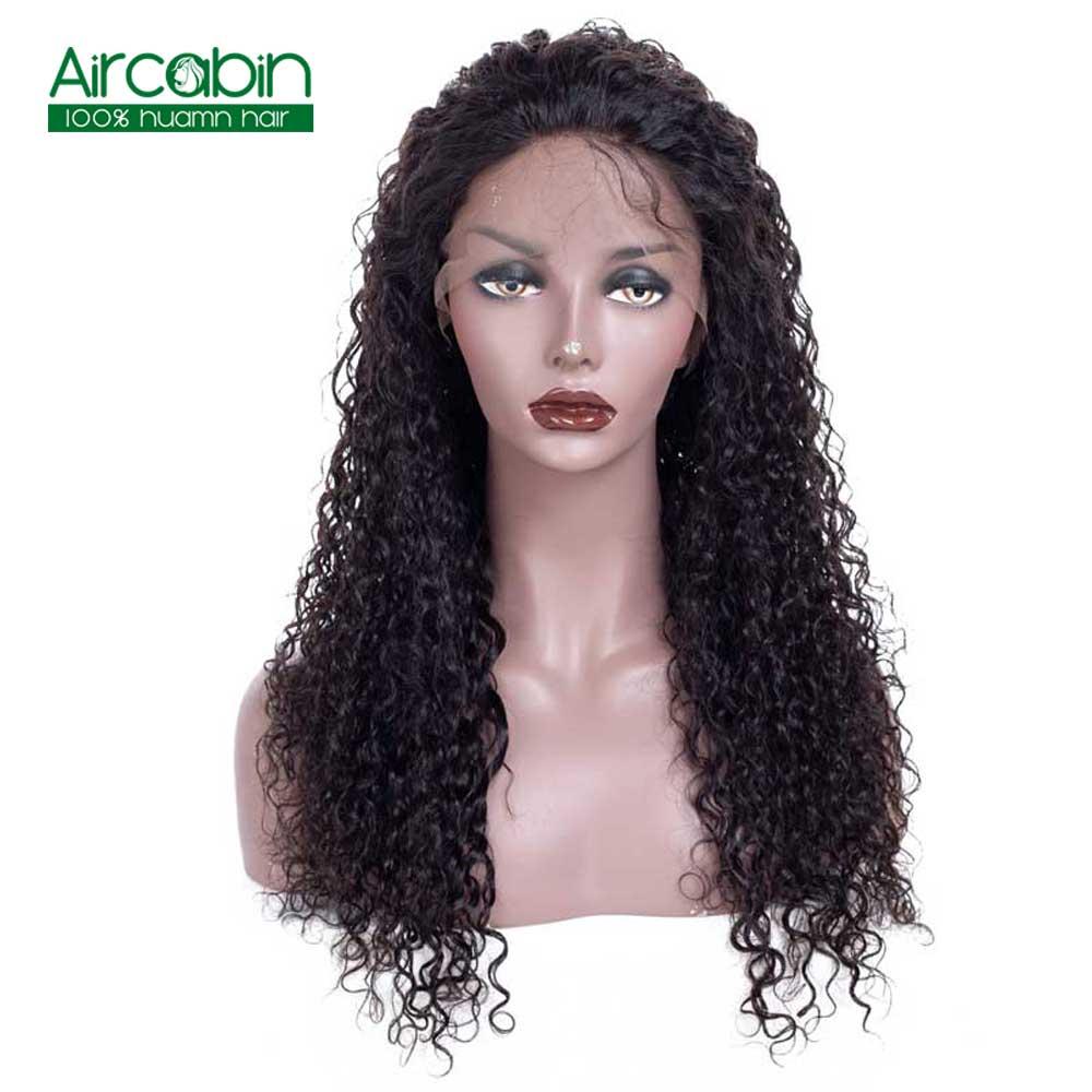 Бразильский странный вьющиеся Синтетические волосы на кружеве парики предварительно сорвал натуральный черный AirCabin Волосы remy парик с воло...