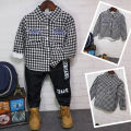 Baby boy Jeans Winter warm plaid shirt for boy denim pants warm jeans for boy plus velvet long sleeve blouse shirt for boys 2016