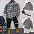 Calças de Brim do bebé Inverno quente camisa xadrez para o menino denim calças quentes calças de brim para o menino além de veludo de manga comprida blusa camisa para meninos 2016