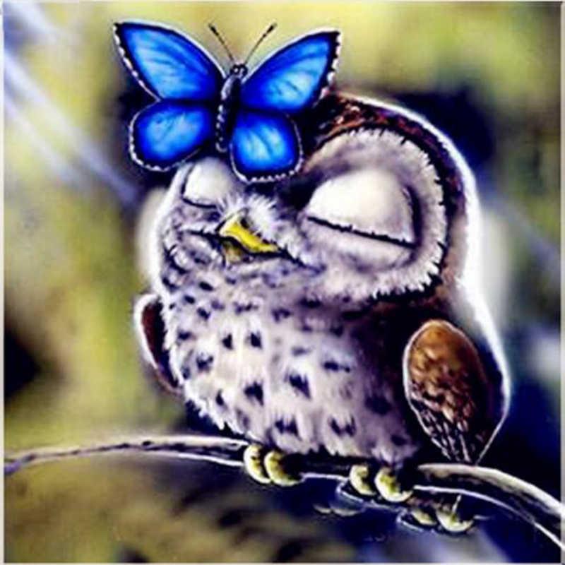 5D Diamond Mosaic Butterfly & Owl Diamond Embroidery Needlework Kit Diy Diamond Painting Cross Stitch Decoration Gift YY