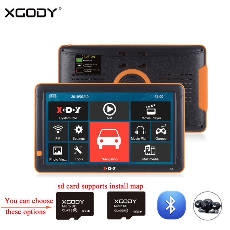 XGODY Rear-View-Camera Navigation Truck Navitel-Map Car Gps Bluetooth Europe 8GB Russia