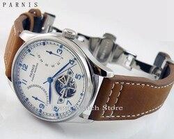 43mm Parnis luksusowa rezerwa chodu chronometr mewa ruch koperta ze stali mężczyzna deployant zegarek z datownikiem