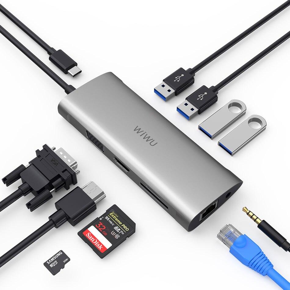 WIWU Multi Adaptador USB Hub para MacBook Pro 11 em 1 USB Doca de Carregamento-Tipo c HDMI Hub RJ45 VGA Divisor USB 3.0 para Huawei P30/20