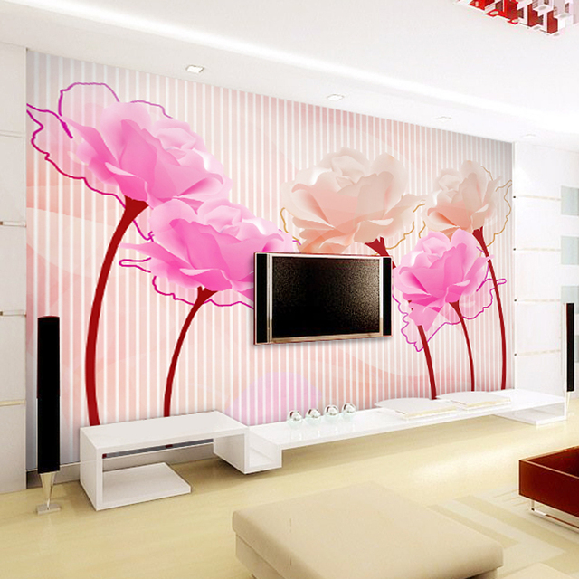 Custom Stripe Papel 3d Flower mural washable wallpaper 5d wall photo ...