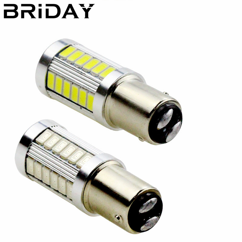 BRIDAY 1pc 1157 BAY15D P21/5W Brake Lights 33 SMD LED Car Tail Lamps Turn Signal Auto Reverse Bulbs Daytime Running lights 12v