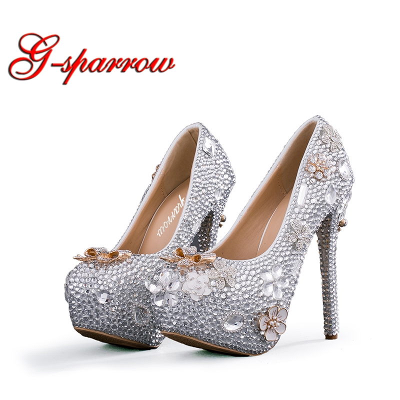 158c267d6e6f Silver Rhinestone Girl Graudation Prom Shoes 14cm High Heels Handmade  Wedding Party Shoes Evening Party Dancing Shoes Big Size
