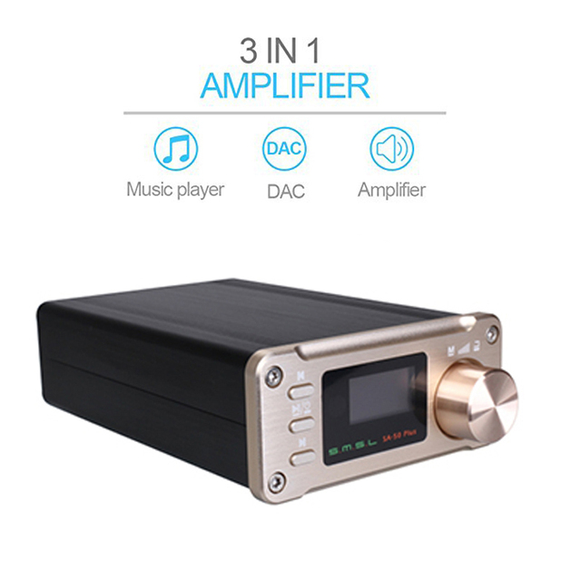 SMSL SA-50 Plus Power Amplifier Digital Portable Amplifier 2.0 Audio Amplifier Home TAS5766M 50W Amplifiers Audio Optical input 1
