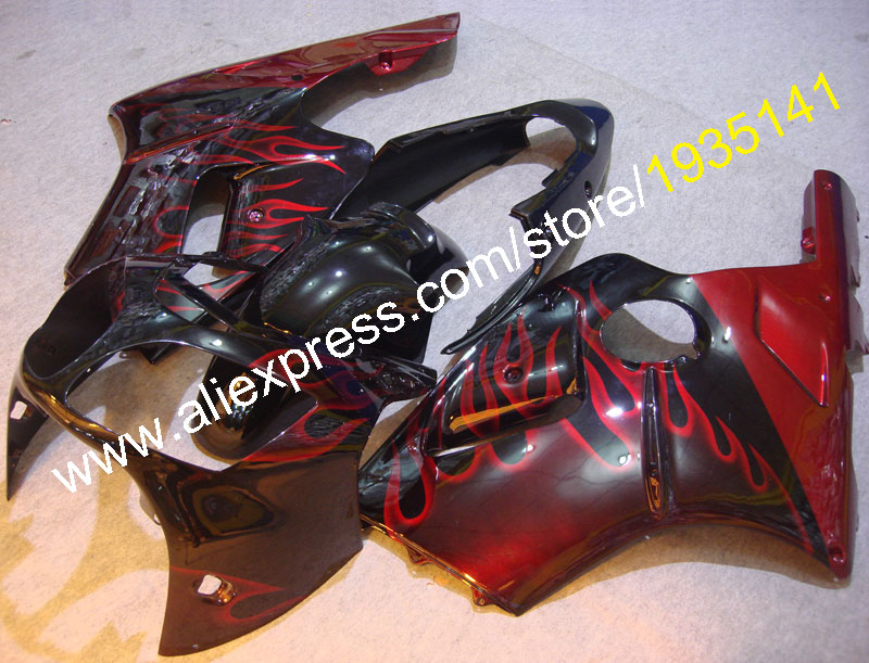 Hot Sales,Red flames For Kawasaki Ninja ZX12R parts set 00 01 ZX 12R body kit 2000 2001 ZX-12R Cowling kit (Injection molding)