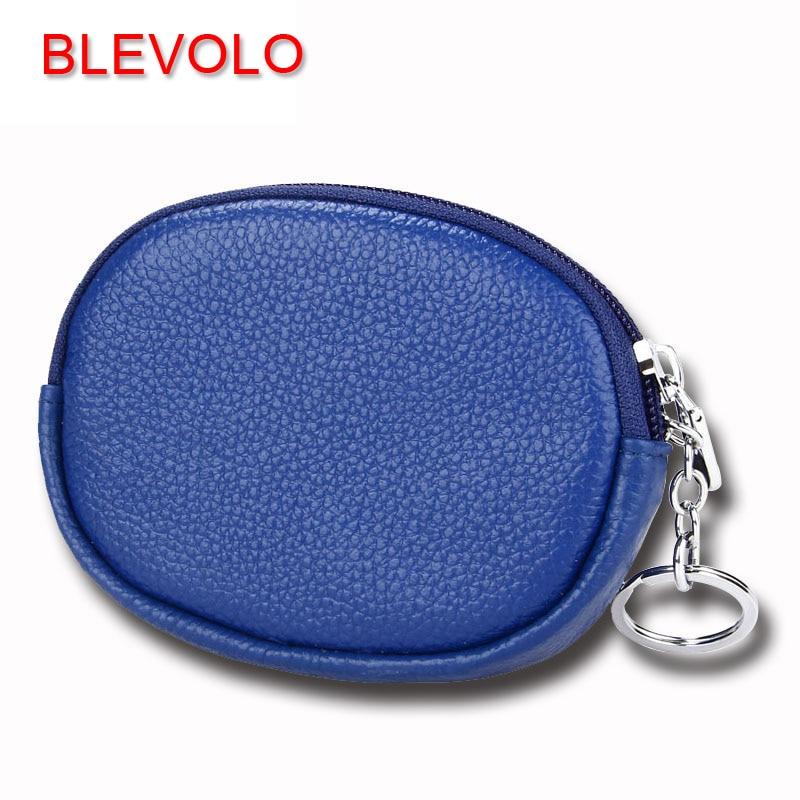 BLEVOLO Brand Wallet 100% Genuine Leather Coin Purses Soft Zipper Men Women Small Wallet Mini Storage Bag Short Key Case Wallets