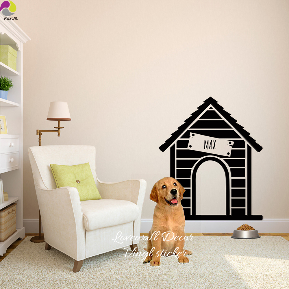 US $9 34 11% OFF|Custom Dog House Name Wall Sticker Personalized Dog Life  Name Wall Window Decal Pet Animal Family Vinyl Decor DIY-in Wall Stickers
