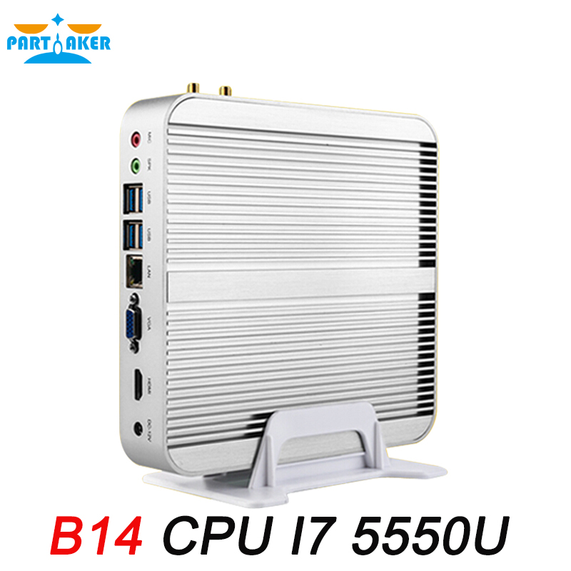 Partaker Mini PC B14 Intel Core I7 5550U Windows Fanless Mini Computer with Free Shipping