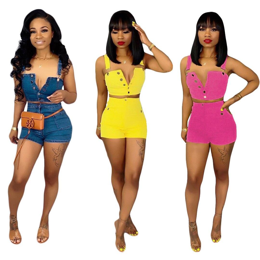 2019 Women New Summer Jeans Tracksuit Casual Denim Button Up High Short+shorts Suit 2 Pieces Set Outfit Jumpsuit Romper S3536