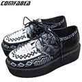 Size 34~ 43 5cm Heels Harajuku FASHION MENS LACE UP PUNK GOTH STUD DOUBLE PLATFORM FLAT CREEPER SHOES MAN CREEPER