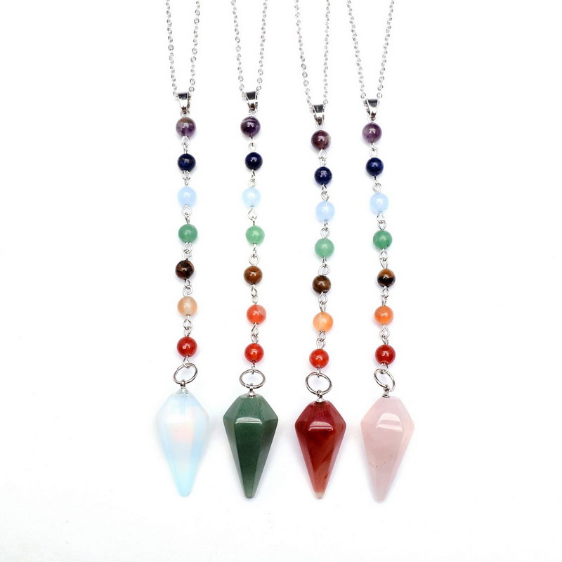 SEDmart 7 Chakra Beads Chain Natural Stone Spiritual Necklace Women Reiki Yogo Tapered    Necklaces