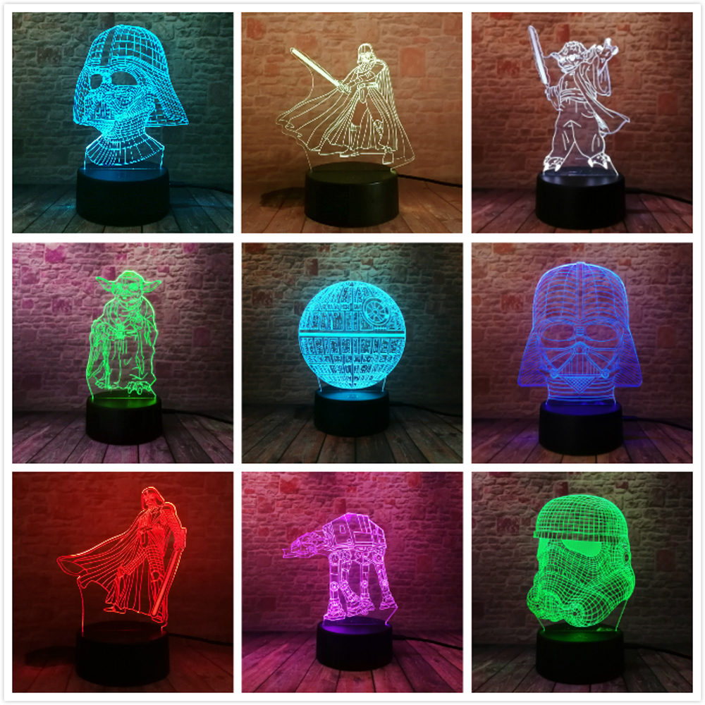 Star War Fans Gifts Death Star Darth Vader Master Yoda Jedi Leader 7 Colors Gradient 3D Lamp LED Night Light Xmas New Year Gifts
