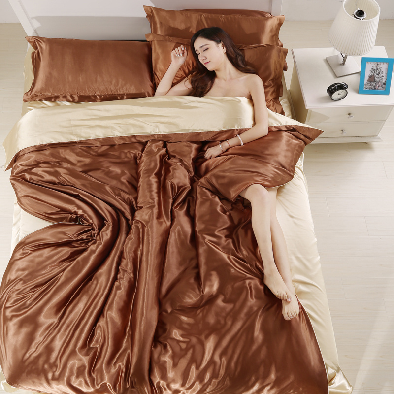 4pcs chinese silk bedding set queen size with duvet cover bed sheet set silk sheets bed