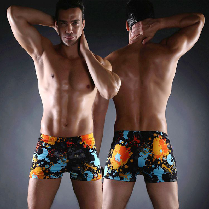 df24758625 Summer 2018 MS004 Hot Selling Swimwear Men s Printed Flat Horn Slim  Training Comfortable Swimming Hot Spring Swimsuit Men-in Men s Trunks from  Sports ...
