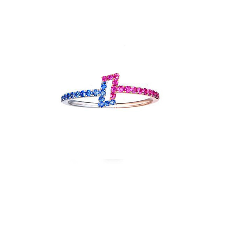 Solid 14k Rose Gold White Gold Natural Sapphires Ruby Ring Engagement Ring Anniversary Wedding Band Cute Romantic Fine Jewelry new pure au750 rose gold love ring lucky cute letter ring 1 13 1 23g hot sale